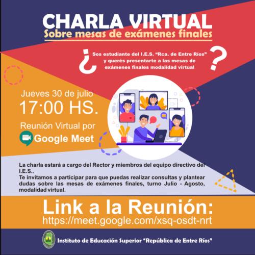 Charla Virtual sobre mesas de exámenes finales