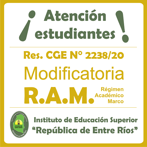 Nueva Resolución del C.G.E que módica el Régimen Académico Marco vigente